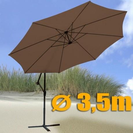 Slunečník 350 cm průměr hnědá barva